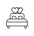 double bed with heart line icon sig vector image
