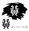 Stylized decorative bison mask Tattoo silhouette vector image