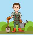 happy gardener standing with his garden tool vector image
