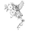 hand drawn graphic bird on vector image
