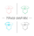 baby bodysuit hand drawn icons set vector image vector image