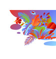 background with tropical leaves and flowers vector image vector image