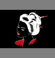 beautiful japanese geisha holds red fan vector image vector image
