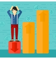 Businessman standing on low graph vector image vector image
