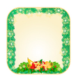 Button square Christmas Spruce with fruit vector image
