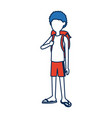 character guy young traveler standing person vector image