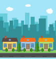 city with cartoon houses and buildings vector image