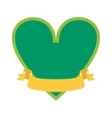 Classical simple green heart silhouette shape icon vector image