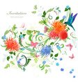 colorful invitation card with floral ornament vector image