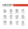 Computer Attacks - line design icons set vector image
