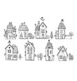 cute doodle houses on white background vector image vector image