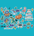 cute magical sticker set with yeti unicorn vector image vector image