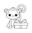 cute monkey animal with gift box vector image vector image