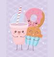 donut cupcake and soda kawaii food cartoon vector image vector image