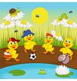 ducklings resting on lake vector image