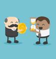 elderly businessman exchanging money vector image