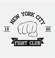 fight club logo new york city vector image
