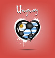 flag of uruguay in the form of a heart vector image vector image