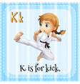 Flashcard of K is for kick vector image vector image