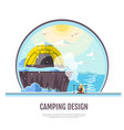 flat style design of winter seaside and caming vector image vector image
