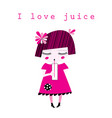 graphics of a little girl drinking juice vector image