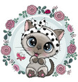 greeting card cute kitten with flowers vector image vector image