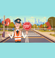 guard with stop sign on road with crosswalk and vector image vector image