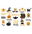 halloween design elements set vector image vector image