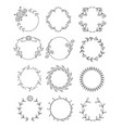 hand drawn floral round frames set vector image vector image