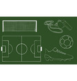 hand drawn football object set vector image