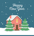 happy new year 2020 celebration cute house trees vector image