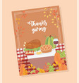 happy thanksgiving poster menu dinner turkey wine vector image