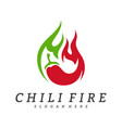 hot chili logo design chili with fire logo vector image