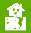 house after an earthquake icon green vector image vector image