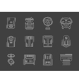 Household appliances white flat line icons vector image vector image