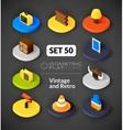 Isometric flat icons set 50 vector image vector image