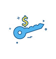 key dollar money icon design vector image
