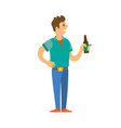 male on disco standing with bottle of alcohol vector image vector image