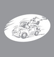 man with a smoking pipe in a small car vector image