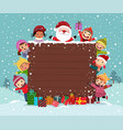 merry christmas background wooden board with kids vector image