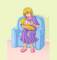 mom and child vector image