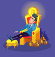 rich businessman sitting on throne with bitcoin vector image