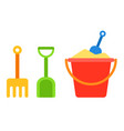 set kids sand bucket shovel and rake icon flat vector image