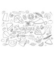 set of hand-drawn outline cheese elements vector image vector image