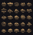 set of mountain icons in golden style isolated on vector image vector image