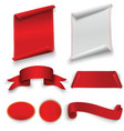 set of red curved paper blank banners isolated on vector image vector image