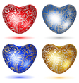 set shiny hearts with curls vector image