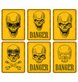 skulls on sign danger black vintage vector image