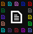 Text File document icon sign Lots of colorful vector image