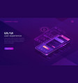 user experience isometric concept ux ui wireframe vector image vector image